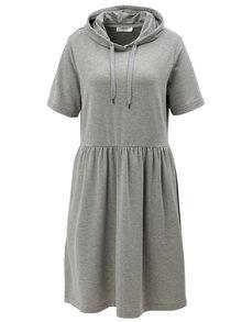 Sivé voľné melírované mikinové šaty s kapucňou Moss Copenhagen
