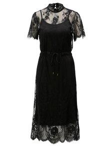 Čierne voľné čipkované šaty Moss Copenhagen