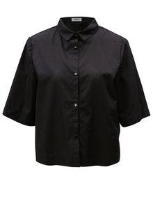Čierna voľná skrátená košeľa s dierkovaným vzorom Moss Copenhagen