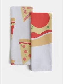 Set doua prosoape albe cu imprimeu pizza Butter Kings