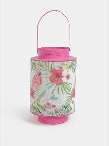 Ružový kovový lampáš s bambusom a motívom plameniaka Kaemingk