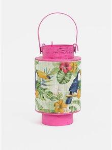 Lanterna metalica roz de dimensiuni reduse cu bambus si motiv tukan Kaemingk