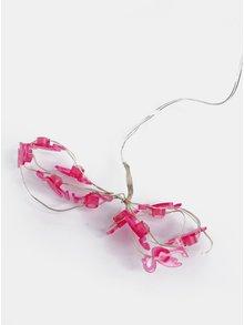 Lant cu lumini LED roz in forma de flamingo Kaemingk