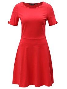 Červené šaty s mašľami na rukávoch Dorothy Perkins