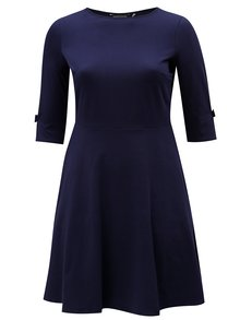 Tmavomodré šaty s 3/4 rukávmi Dorothy Perkins Curve
