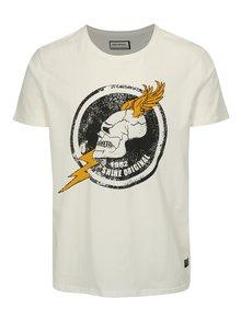Bílé tričko s potiskem lebky Shine Original