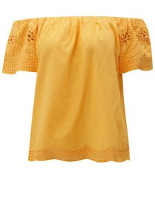 Oranžová blúzka s odhalenými ramenami a madeirou Dorothy Perkins