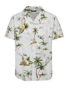 Biela košeľa s tropickou potlačou a krátkym rukávom Shine Original