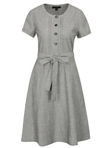 Sivé šaty s prímesou ľanu Fever London Juno