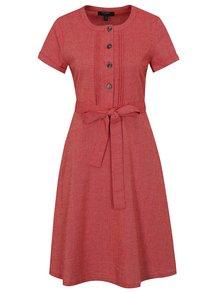 Červené šaty s prímesou ľanu Fever London Juno