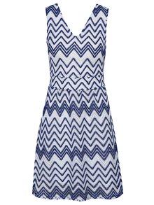 Modré vzorované šaty s opaskom Mela London