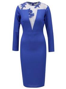 Modré šaty s dlhým rukávom Miss Grey Tina