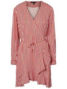 Červeno-biele pruhované zavinovacie šaty s volánom VERO MODA Lizette