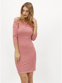 Bílo-červené pruhované šaty s 3/4 rukávem ZOOT
