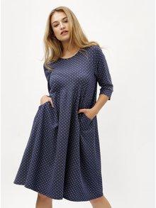 Tmavomodré bodkované šaty s 3/4 rukávom ZOOT