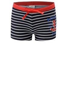 Tmavomodré chlapčenské pruhované plavky s potlačou 5.10.15.