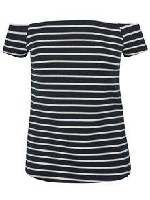 Tmavě modré pruhované tričko s odhalenými rameny Dorothy Perkins Curve