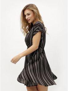 Čierne pruhované šaty s prekladaným výstrihom VERO MODA Laura