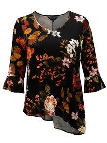 Čierna kvetovaná asymetrická blúzka Dorothy Perkins Curve