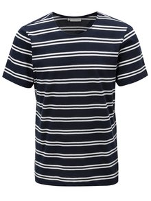 Tricou albastru inchis in dungi Casual Friday by Blend