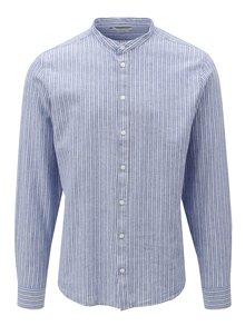 Modrá pruhovaná ľanová regular fit košeľa bez goliera Casual Friday by Blend