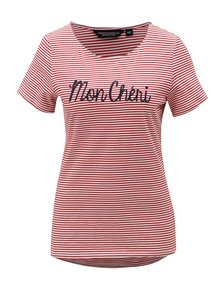 Bielo-červené pruhované tričko s nášivkou Dorothy Perkins