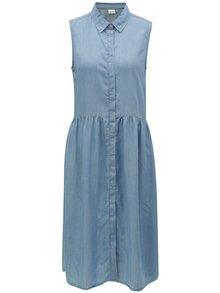 Svetlomodré košeľové šaty bez rukávov Selected Femme Chloe