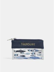 Tmavě modrá malá kosmetická taška na zip s potiskem ryb CGB