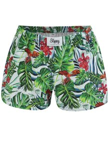 Boxeri de dama alb-verde cu model tropical Slippsy Jungle Girl