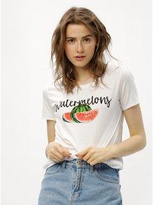 Biele tričko s potlačou melónov ONLY Happy love