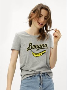 Tricou gri cu print de banane ONLY Happy love