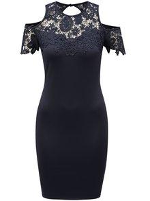 Tmavě modré pouzdrové šaty s průstřihy na ramenou AX Paris