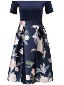 Tmavě modré šaty s květovanou sukní AX Paris