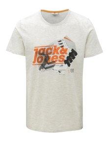 Světle šedé žíhané tričko s potiskem Jack & Jones Phil-Burke
