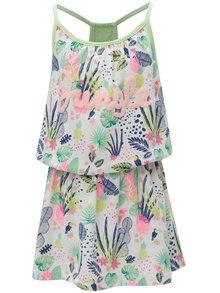 Zeleno-bílé holčičí vzorované šaty s krajkou 5.10.15.