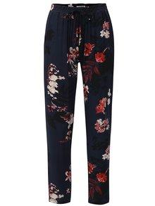 Pantaloni albastru inchis lejeri cu model floral si talie inalta Haily´s Ricky