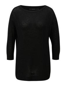 Čierny tenký oversize sveter s 3/4 rukávom VERO MODA Sana