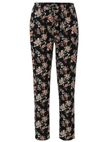 Pantaloni negri lejeri cu model floral si talie inalta Haily´s Ricky