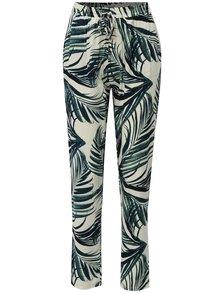 Zeleno-krémové vzorované volné kalhoty s vysokým pasem Haily´s Ricky