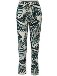 Pantaloni verde-crem lejeri cu model si talie inalta Haily´s RIcky