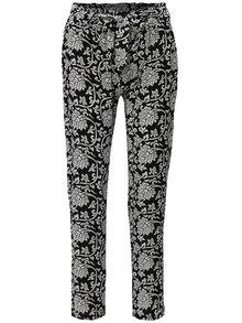 Bílo-černé vzorované volné kalhoty vysokým pasem Haily´s Ronja