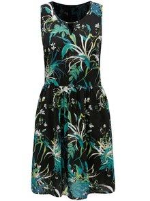 Zeleno-čierne vzorované šaty s prestrihom v dekolte VERO MODA Simply