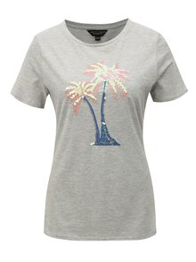 Šedé žíhané tričko s flitry Dorothy Perkins