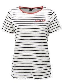 Modro-biele pruhované tričko s výšivkou Dorothy Perkins Curve