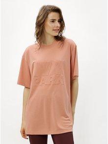 Svetloružové oversize tričko s potlačou Ivy Park