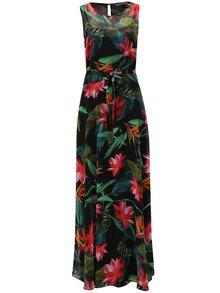 Rochie maxi rosu-negru cu model floral si cordon Billie & Blossom