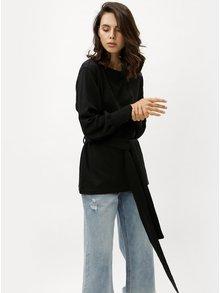 Bluza sport neagra lunga cu cordon Jacqueline de Yong