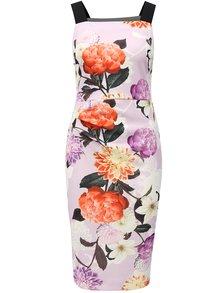 Svetlofialové kvetované puzdrové šaty na ramienka Dorothy Perkins