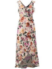 Krémové kvetované maxišaty s volánmi Dorothy Perkins
