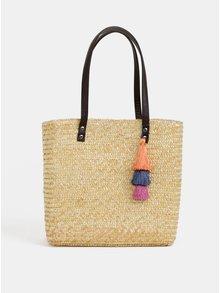 Světle hnědá plážová taška s třásněmi Dorothy Perkins